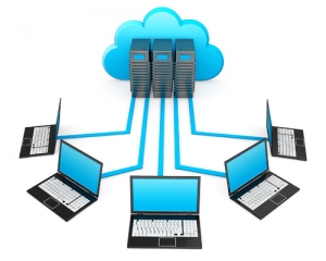 Illustration of five networked computers and three servers representing the Cloud