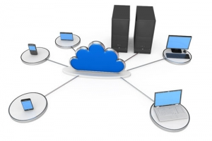 server_computer_laptop_connected_in_network_displaying_cloud_computing_stock_photo